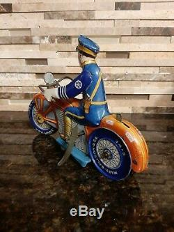 Vintage Marx Windup Tin Litho Police Cop Motorcycle Working Excellent Condition