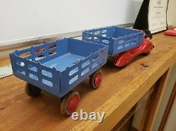 Vintage Marx Wyandotte Pressed Steel Stake Truck Tin Old Toy Lot large truck toy