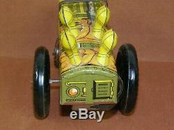 Vintage Metal Tin Lithograph MARX Army Military Toy JUMPIN JEEP 22C Winds & Runs