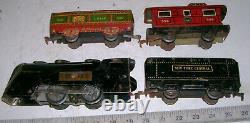 Vintage O-27 Gauge Complete Metal Litho Commodore Vanderbilt Steam Train Set