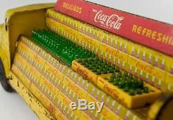 Vintage Original 1950's Marx #22 Litho Tin Toy Coca Cola Delivery Truck Bottles