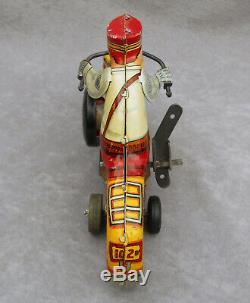 Vintage Police Motorcycle Wind-Up TIN TOY by MARX+ Original Key Nice Litho 8.5