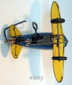Vintage Tin 1940 Marx Wind Up Roll Over Stunt Airplane Blue & Yellow #12 Nice