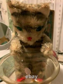 Vintage Tin LineMar Marx Battery Operated Hungry Cat 1960s Japan with Original Box