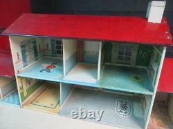 Vintage Tin Litho Marx Dollhouse With Furniture