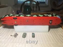 Vintage Tin Marx Battery Operated US Army Fighting L. S. T. Ship 1950s Japan