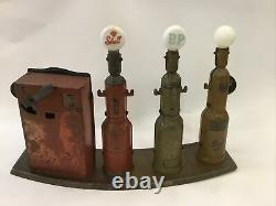 Vintage Tin Toy Marx Double Shell Bp Pratts Triple Bowser Gas Rare Garage In Out