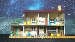 Vintage Two Story Marx Tin Doll House with Furniture 2 trees and a Poodle