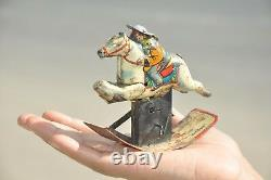 Vintage Wind Up Jumping Horse Rider Litho Tin Toy, Japan
