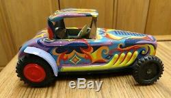 Vntg Louis Marx Psychedelic Hippy Friction Race Car, 1967, Japan, COOL! RARE