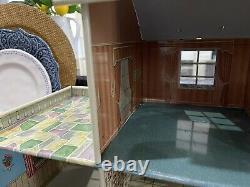 Vtg 1950 60's Marx Tin Two Story Dollhouse Breezeway Original Furniture Nice