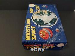 Vtg 1950s satellite tin whistling spinning tops Marx toy litho sputnik era Japan