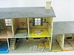 Vtg MARX Tin 2 Story Dollhouse w Stairs, Sports Room, 45 pcs Renwal Furniture