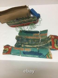 Vtg Marx Linemar Remote Controlled Battery Operated TORPEDO BOAT TOY Box Tin 33