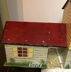 Vtg Marx Tin Litho Doll House 2 Story Pressed Metal 1950s