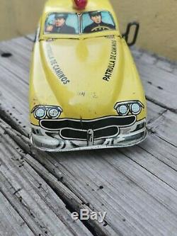 Vtg Rare Tin Toy Car Highway Patrol Police Wind-up Sound Marx Plastimarx Mexico