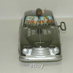 Vtg Tin Litho Marx Mechanical Army Staff Car withBox, Wind Up Toy Vehicle, Works