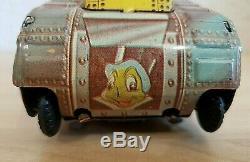 Vtg Walt Disney Wind Up Rollover Tin Tank Plastimarx Donald Jimmy & Scrooge